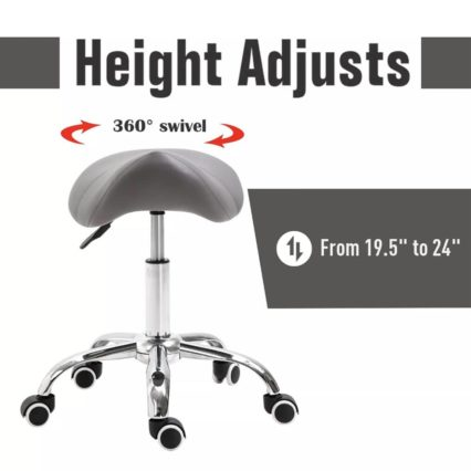 Cosmetic Stool 360° Rotate Height Adjustable Salon Massage Spa Chair Hydraulic Rolling Faux Leather Saddle Stool Mobility - Grey best cheap amazon ebay buy now online